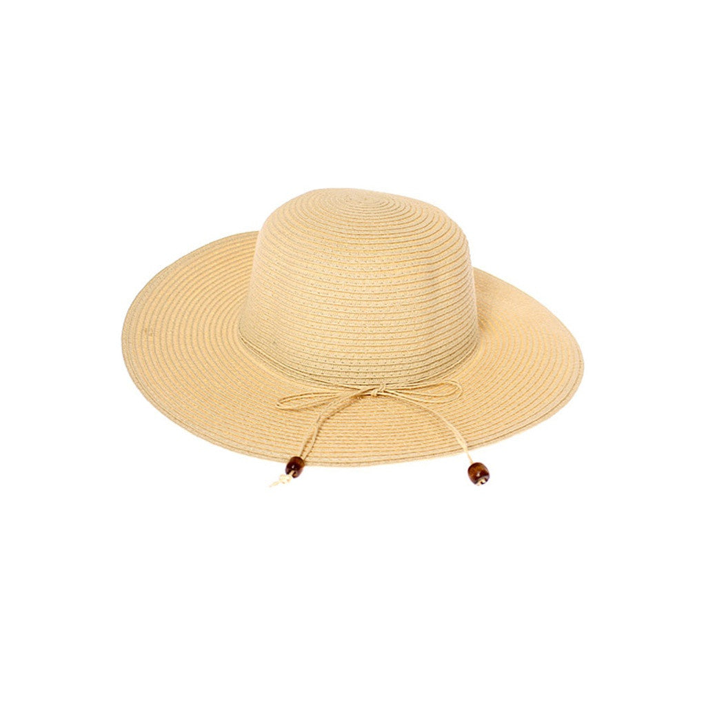 Floppy Summer Straw Hat with Beaded Tie