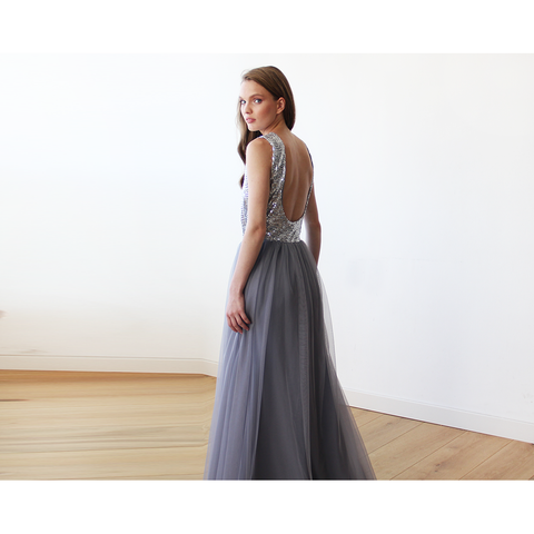 Sleeveless Silver and Grey Sequins Maxi Tulle Dress with Open-Back 1099