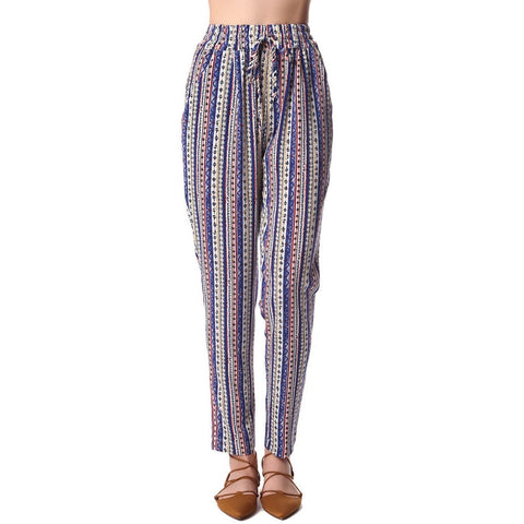 Blue Geo-Tribal Printed Wide Leg Pants