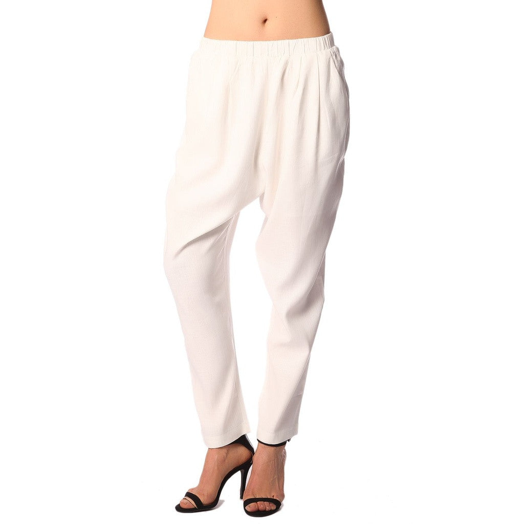 White Peg Pants With Elastic Waist