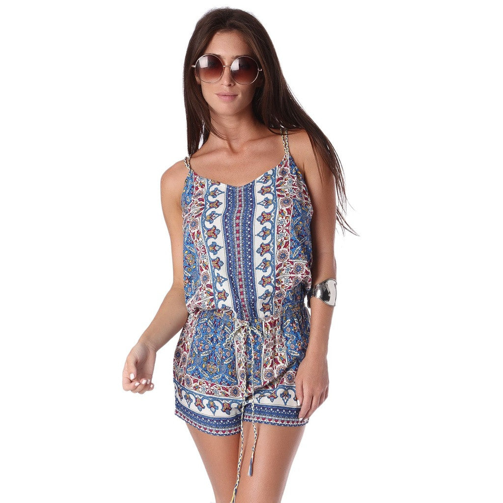 Blue Playsuit In Print With Lace Up Back