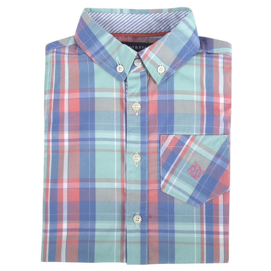 Mint,Coral,Blue Plaid LongSleeve Button-down Shirt