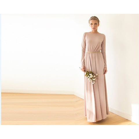 Backless Blush Maxi Dress With Long Sleeves 1041