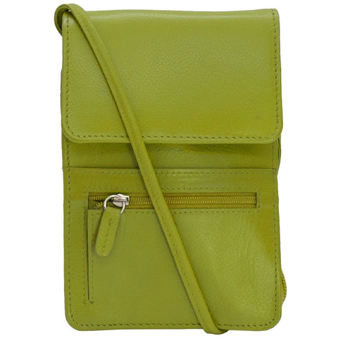 Rfid Blocking Leather Organizer on a String - Moss Green