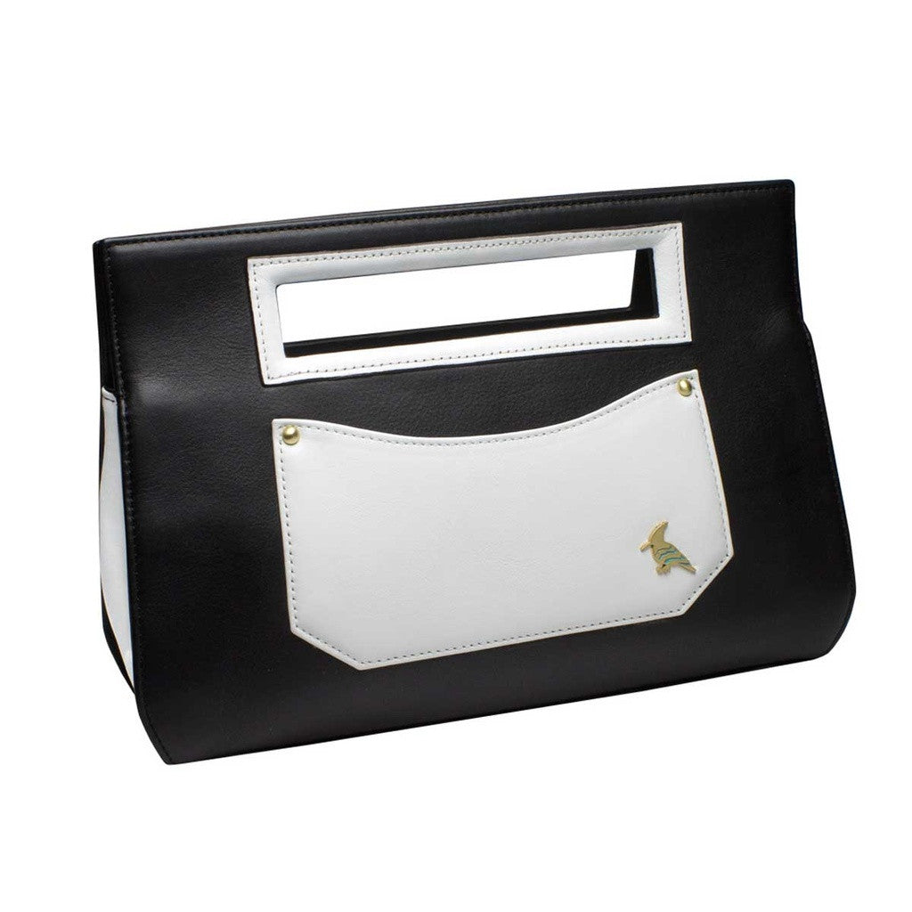 Black and White Leather Clutch  WAS $146 - NOW 42% off retail