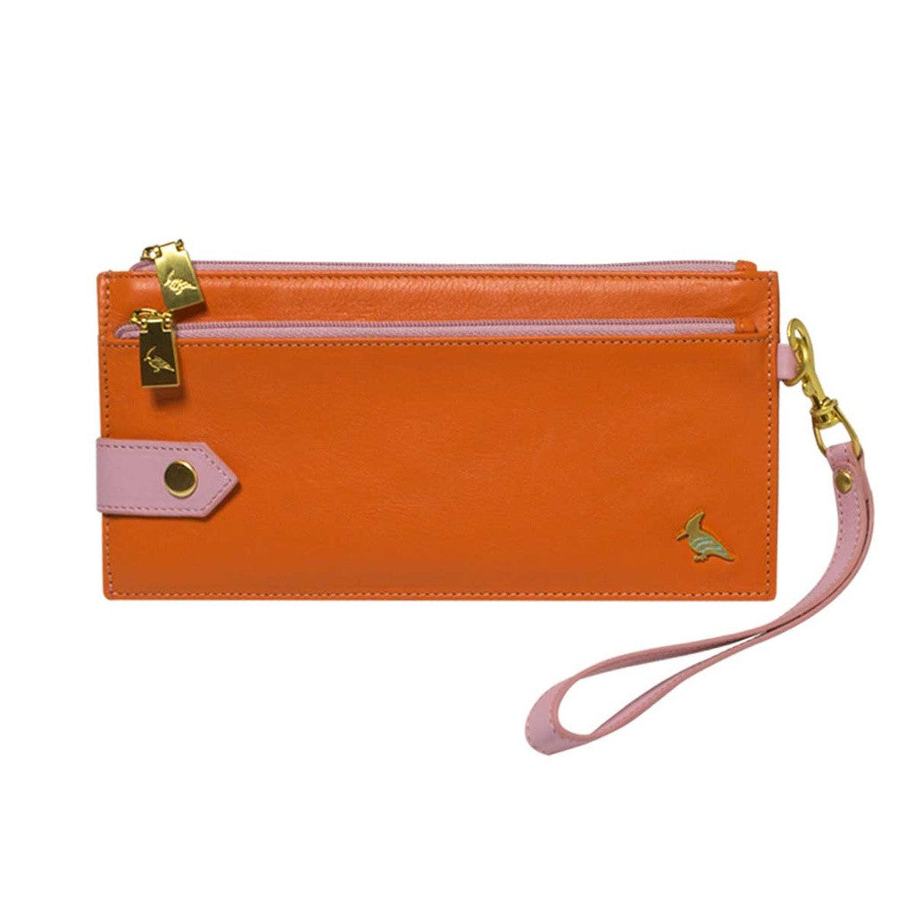 Orange Leather Wristlet Wallet - Kiskadee