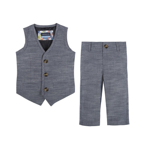 Blue Chambray Vest & Pant Set