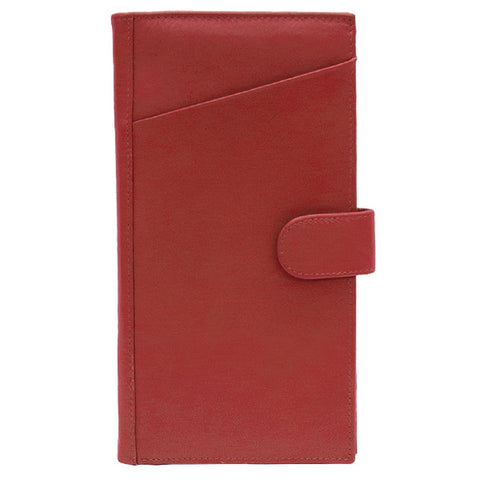 Rfid Lined Leather Travel Wallet - Red