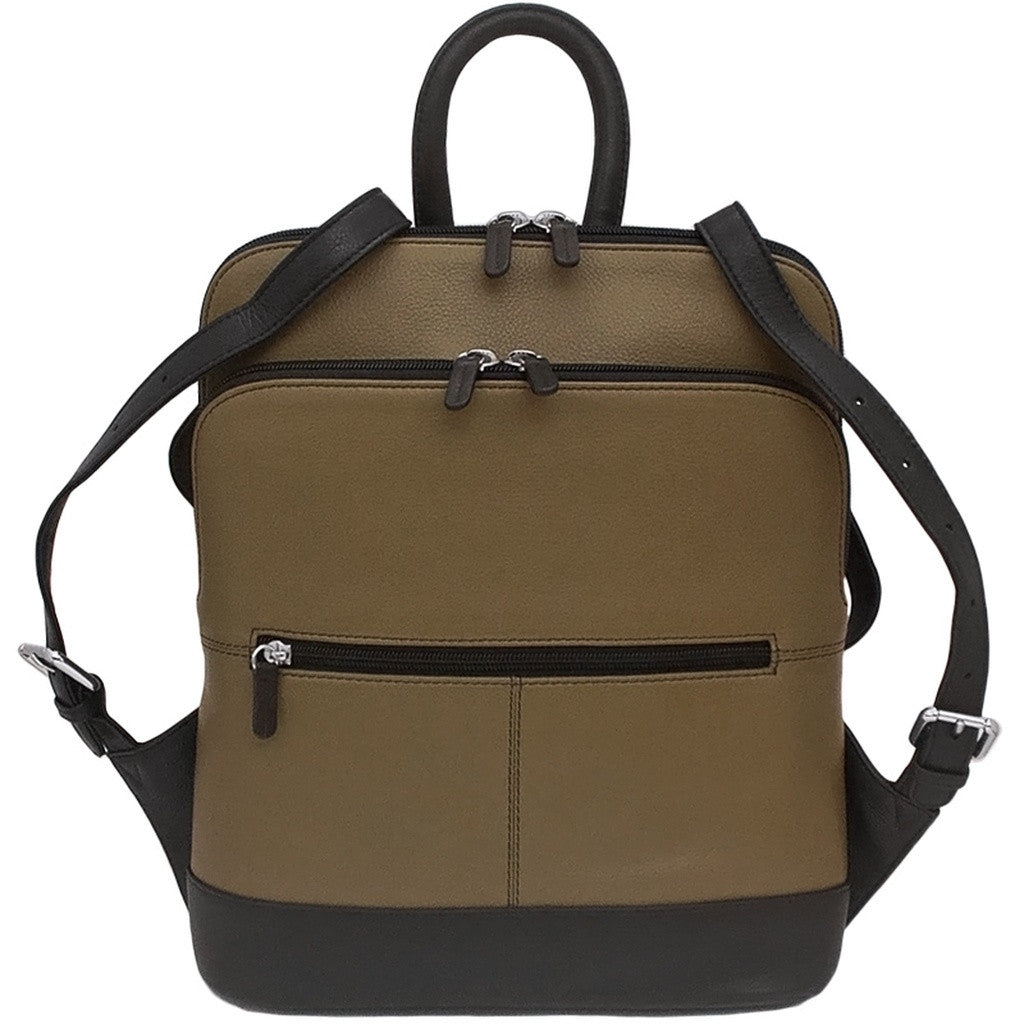 Leather Backpack - Olive/Black Combo