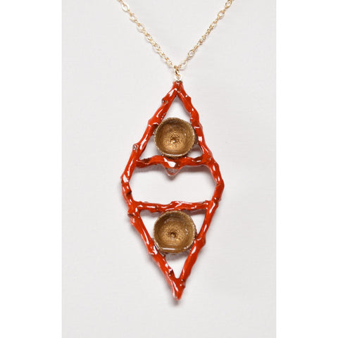 Nature With Red And Gold Necklace