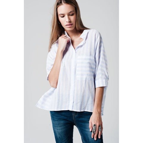 Blue Striped Shirt With Asymmetric Hem And Sleeves Wide Cut