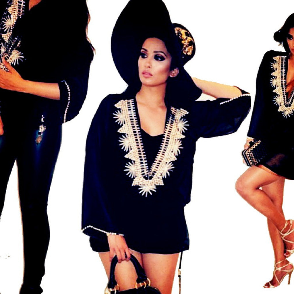 Beach Glam Black and Silver Silk Kaftan- Beach Glam - Shopstara