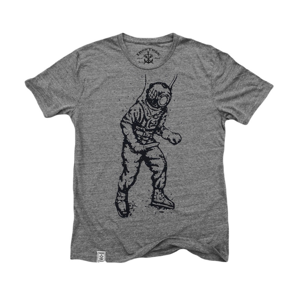 Vintage Deep Sea Diver: Tri-Blend Short Sleeve T-Shirt in Tri Athletic Grey