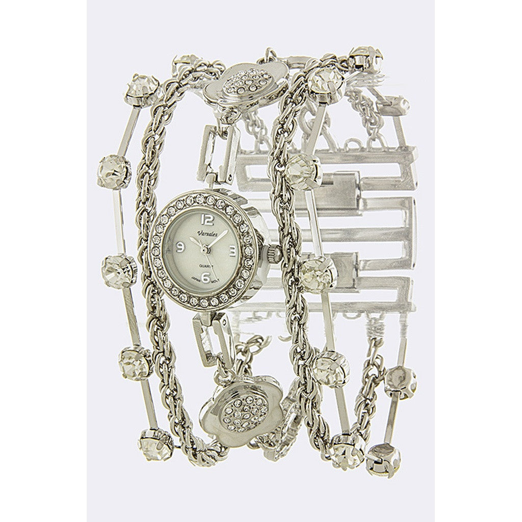 Silver Crystal Chain Band Watch