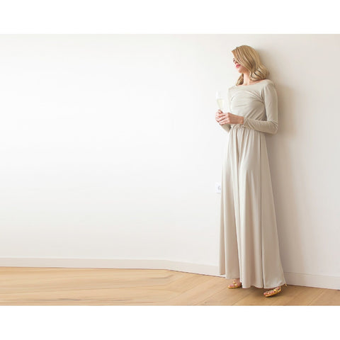 Backless Champagne Maxi Dress With Long Sleeves  1041
