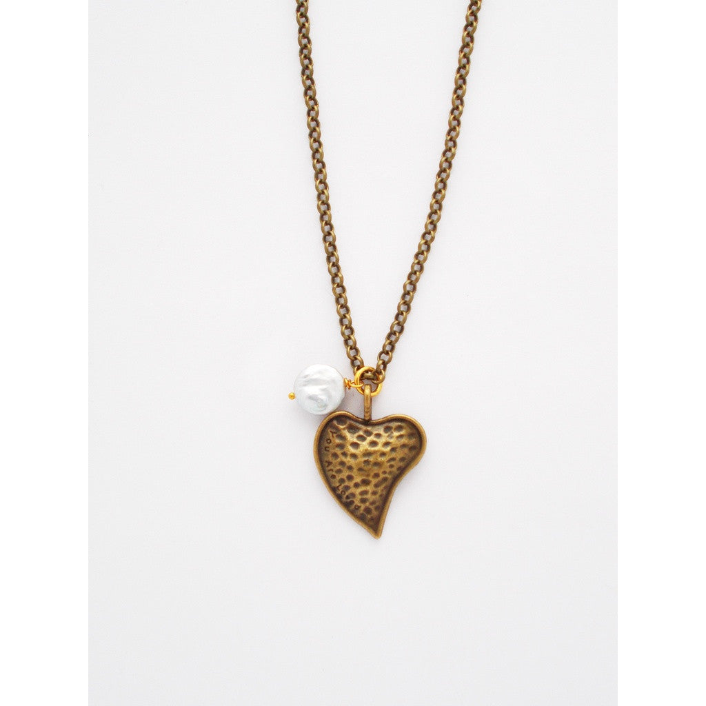 Show Your Heart Necklace, In Brass