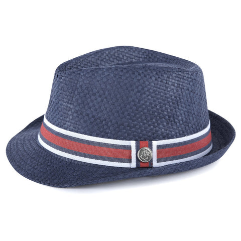 Navy Straw Fedora