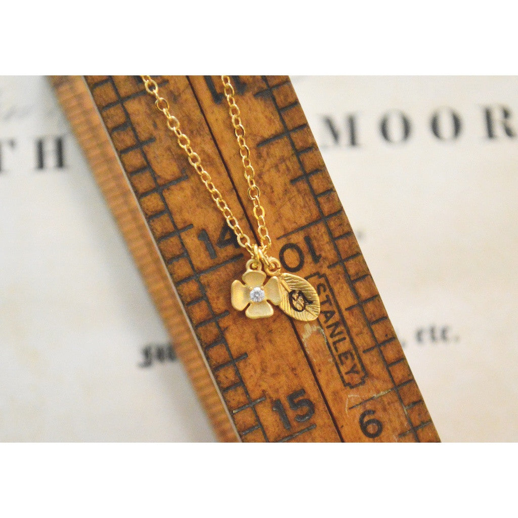 Golod Dainty Cz Flower Initial Leaf Necklace,