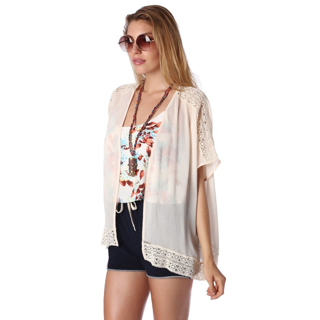 Beige Cheesecloth Kimono with Crochet Detail- Q2 Store - Shopstara
