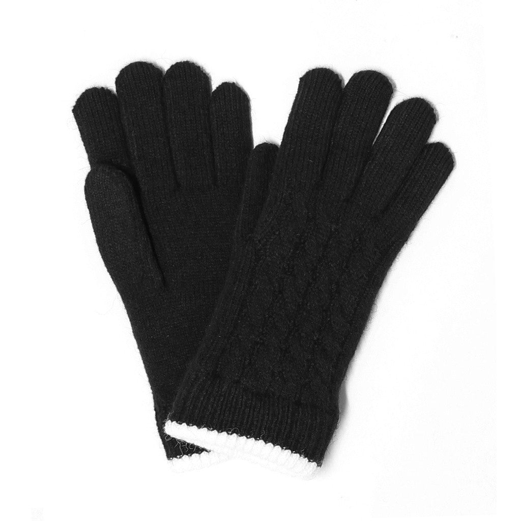 Womens Cable Trimmed Gloves Lined