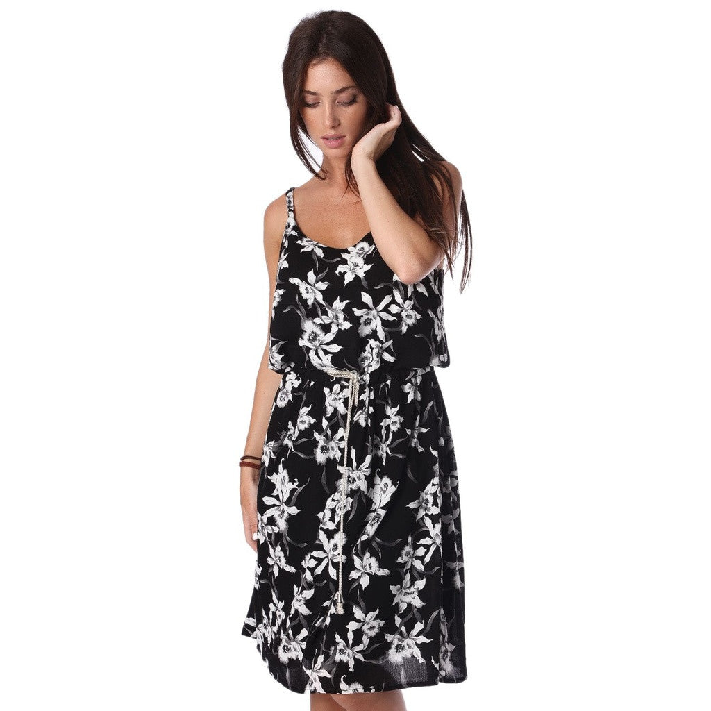 Black Dress in Floral Print with Drawstring Waist