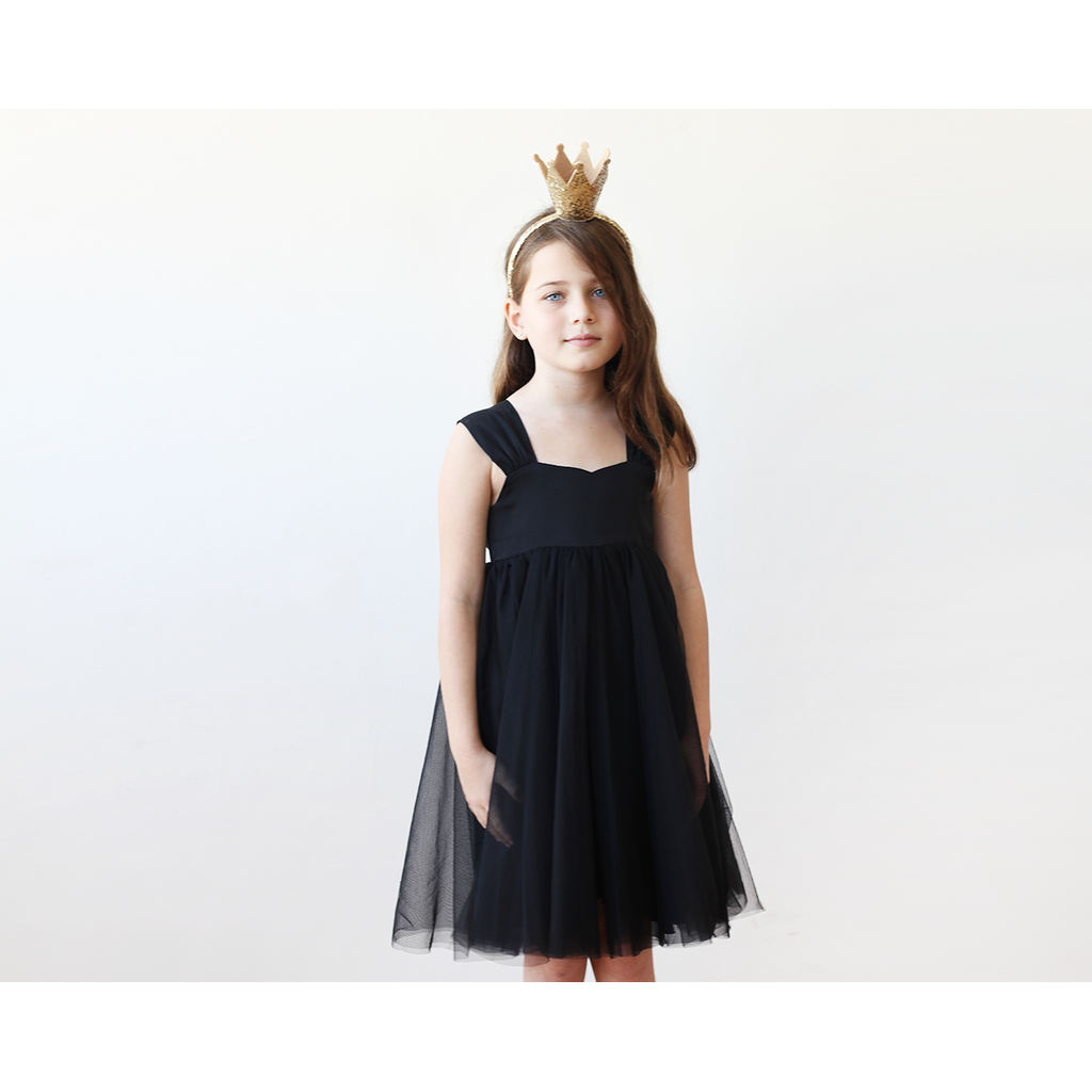 Flower Girls Fancy Tulle Black Dress 5006