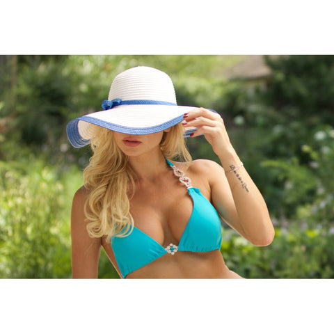 Beach Glam Large White Hat with Blue Rim