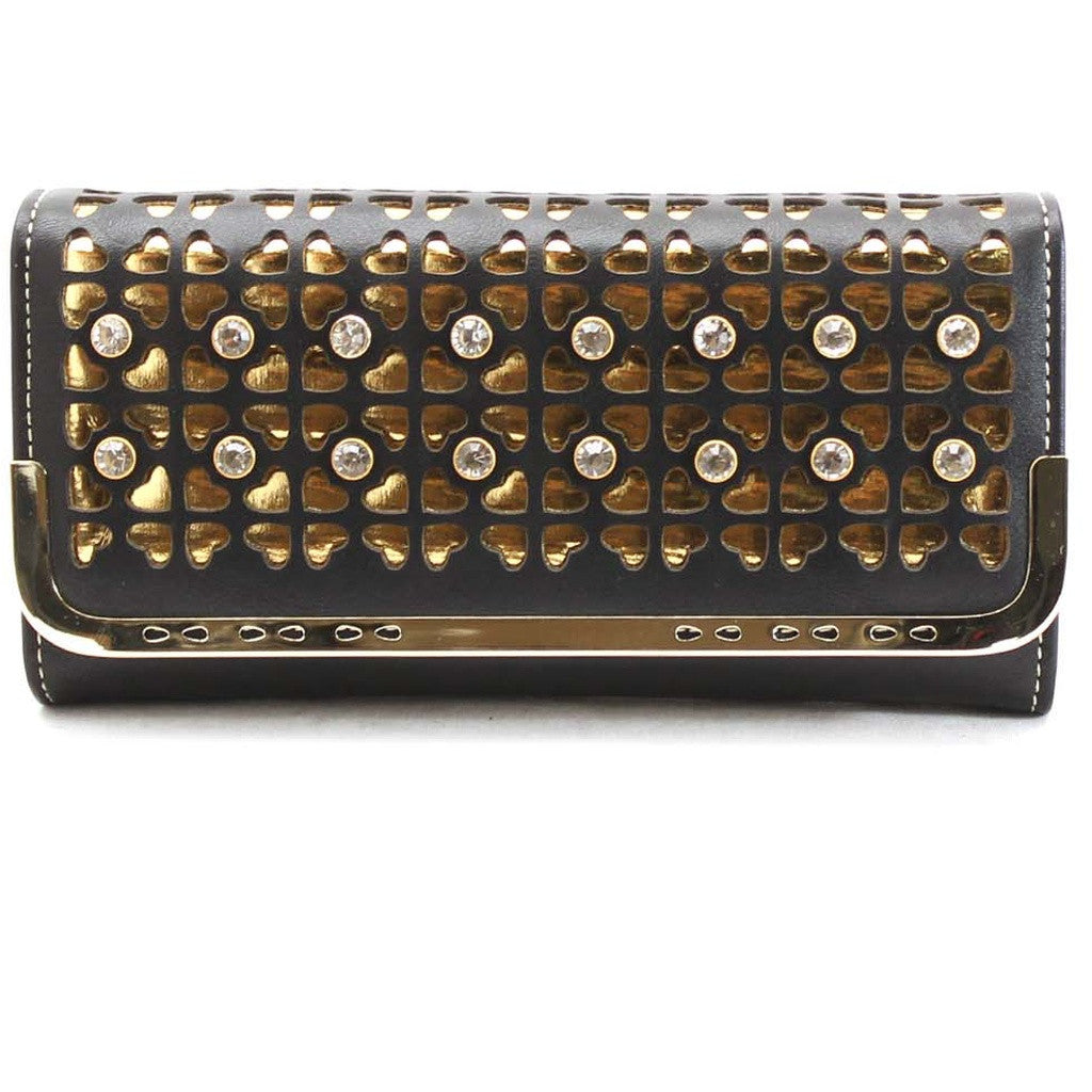 Black & Gold Cutout Crystal Wristlet Wallet