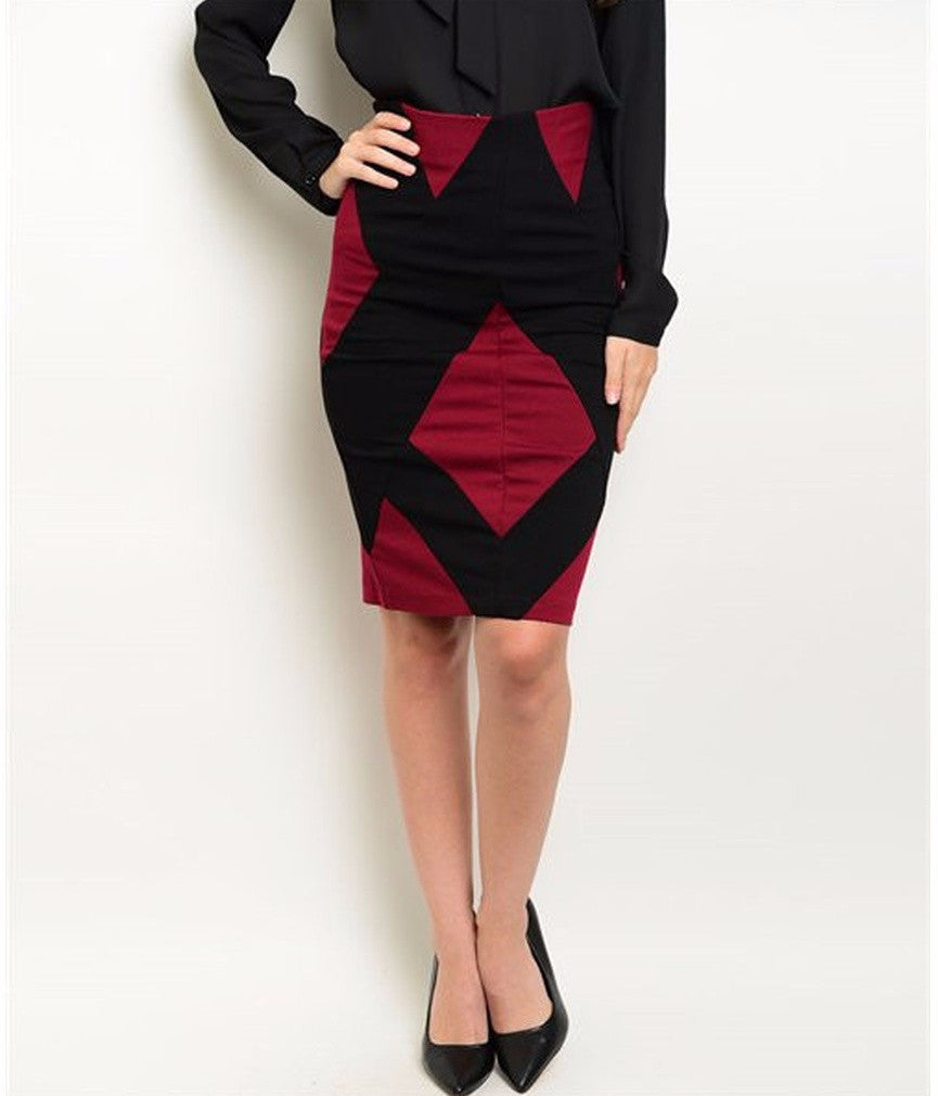 Women's Skirt Colorblock Black And Red Pencil Skirt