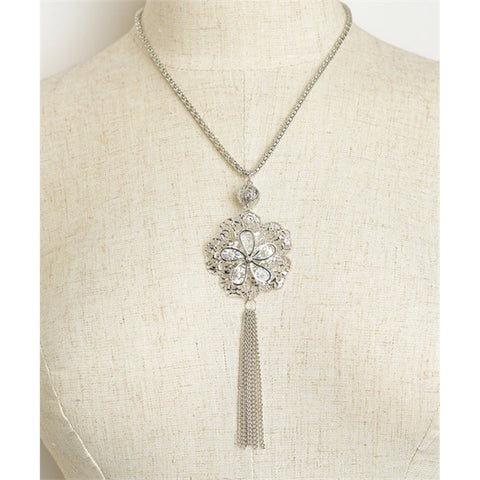 Women's Necklace Flower Shape Fringed Tassel Chain Necklace