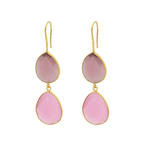 Fronay Collection 925 Sterling Silver Tiered Pear Pink Quartz Hook Earrings