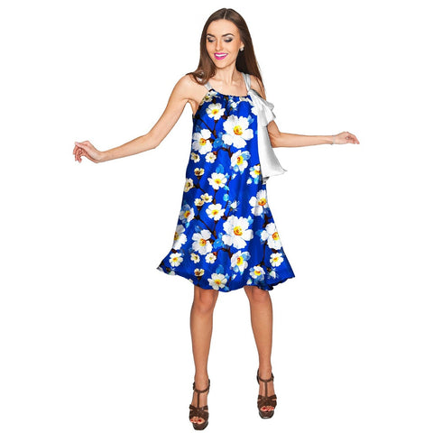 Almond Blossom Melody Blue Chiffon Floral Dress - Women