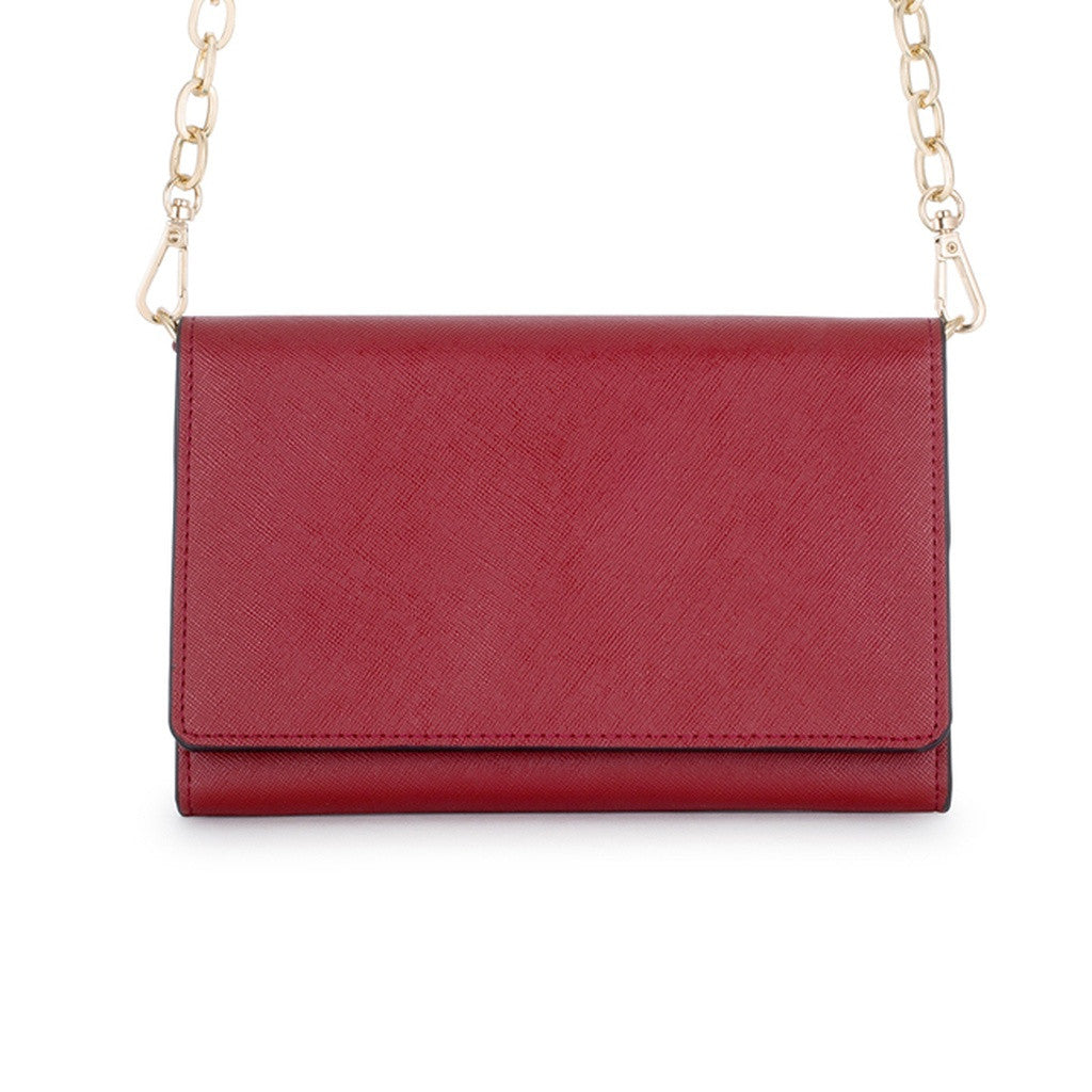 Burgundy & Black Border Purse