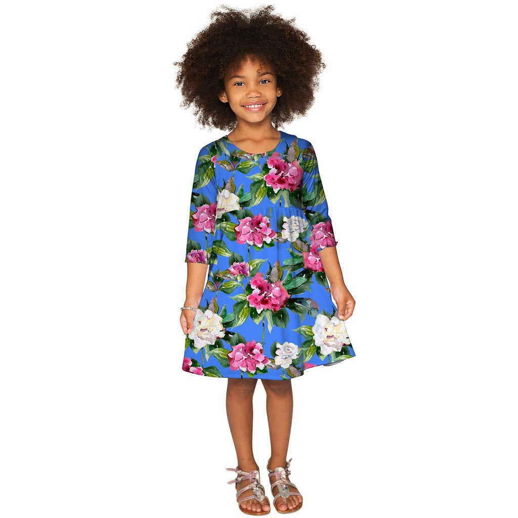 Aquarelle Gloria Fit & Flare Blue Floral Party Dress - Girls