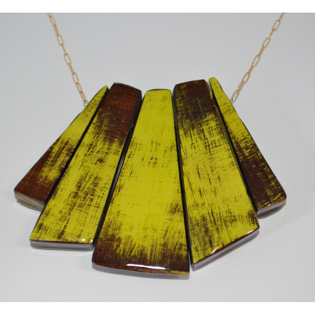 5 Piece Yellow/Champagne Necklace- Guillemette Wood Jewelry - Shopstara