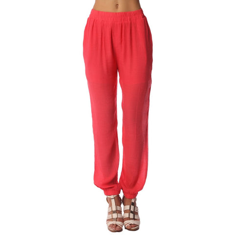 Red Linen Pants With Elastic Waist Detail