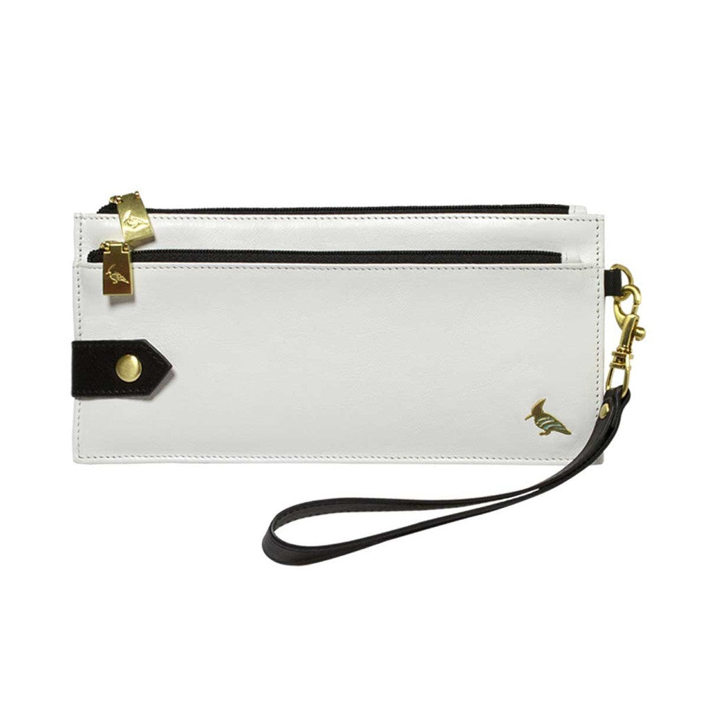 White Leather Wristlet Wallet - Kiskadee