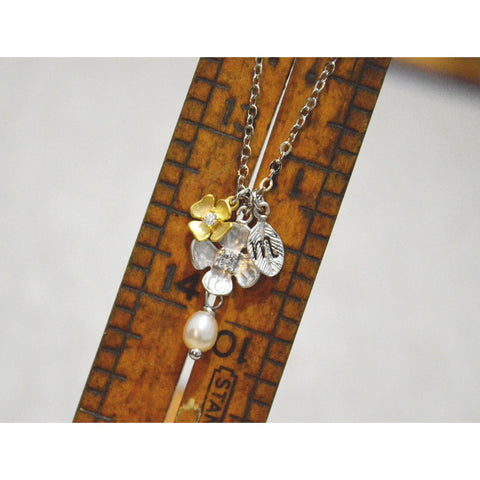 White Gold Cubic Zirconia Double Flower Initial Necklace