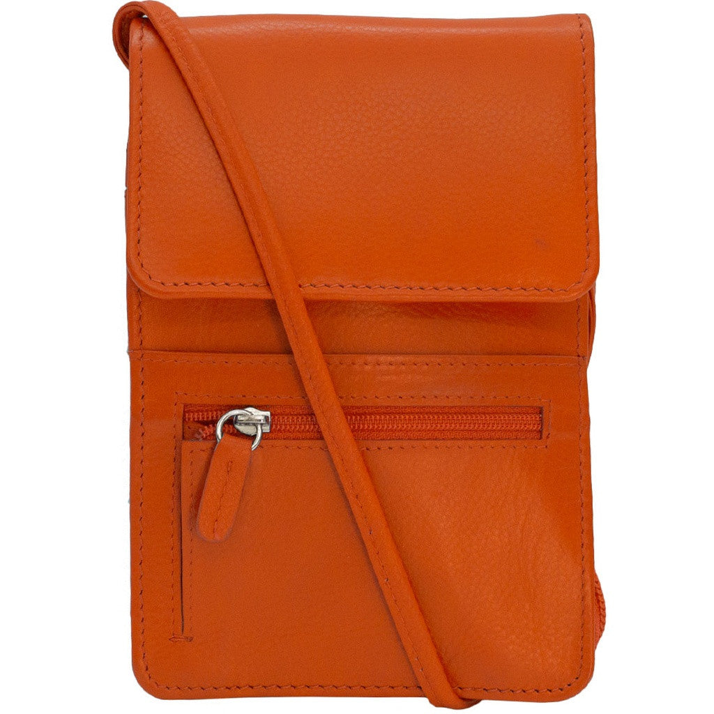 RFID Blocking Leather Organizer on a String - Orange