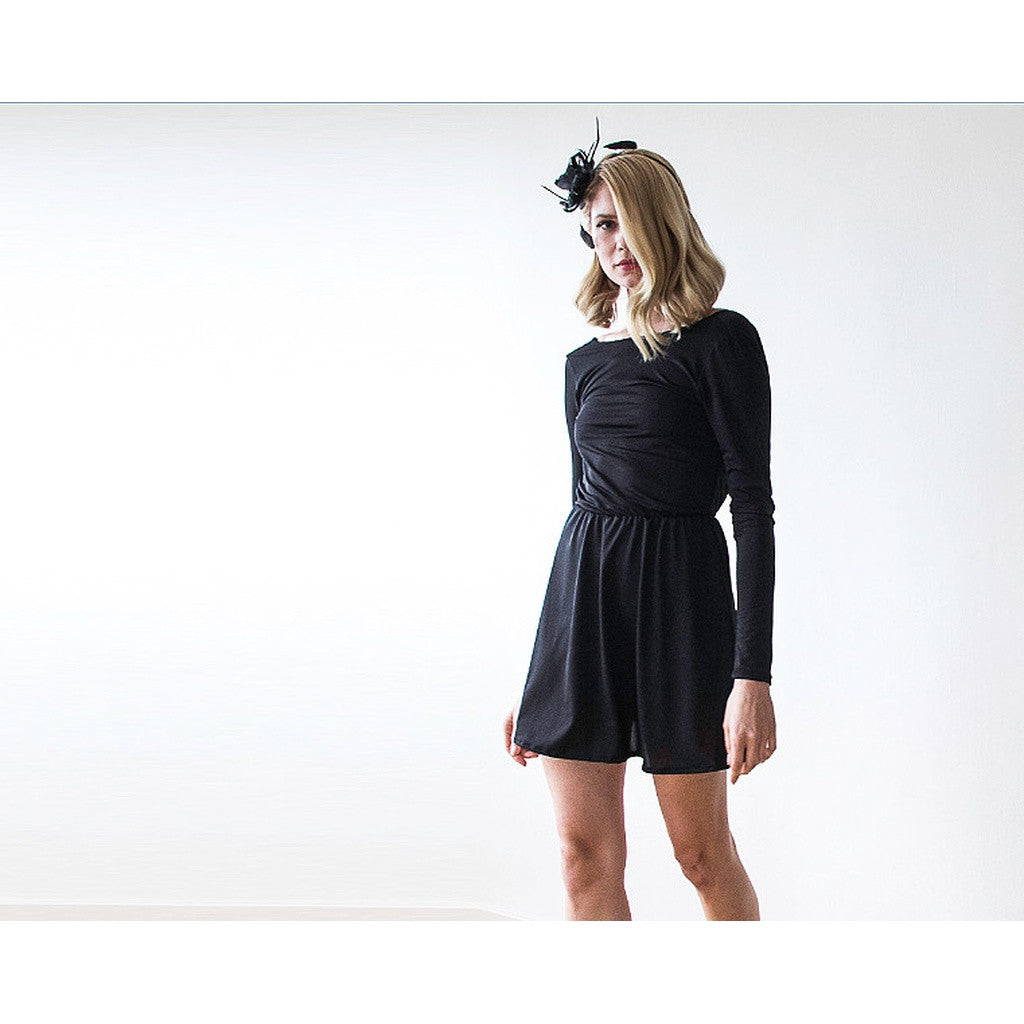 Backless Black Mini Dress With Long Sleeves  1042