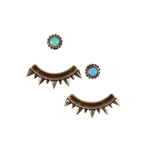 Eyes of Mars Earrings in Opal and Brass
