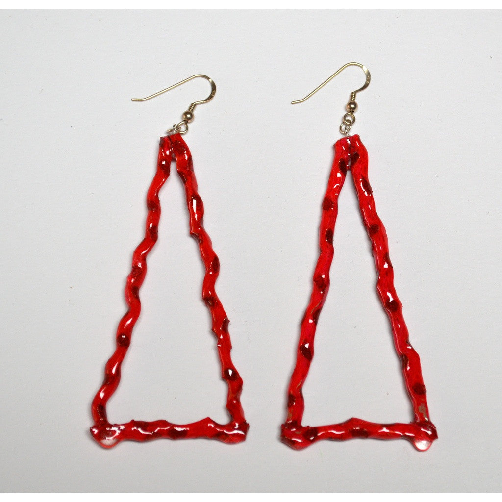 Hot Pink Triangle Flower Stem Earrings