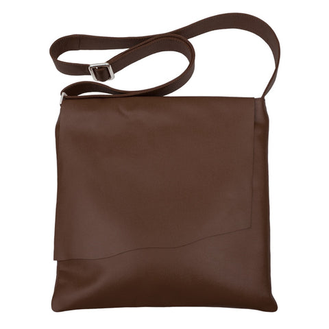 Large Leather Rawhide Flap Crossbody Bag - Brown