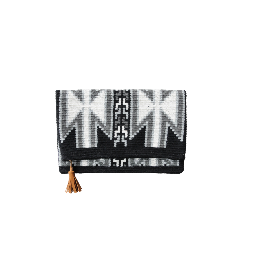 Aztec Foldover - Black Clutches