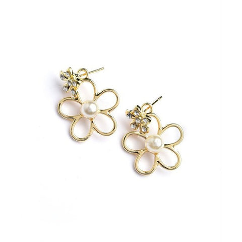 Women's Earrings Flower Shape Pearl And Stone Earrings