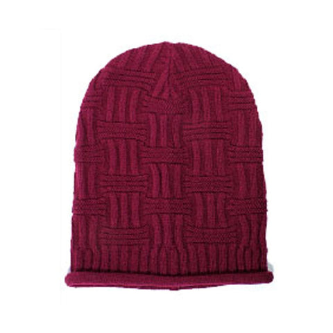 Burgundy Unisex Basket Weave Slouchy Beanie Hat Mid Weight