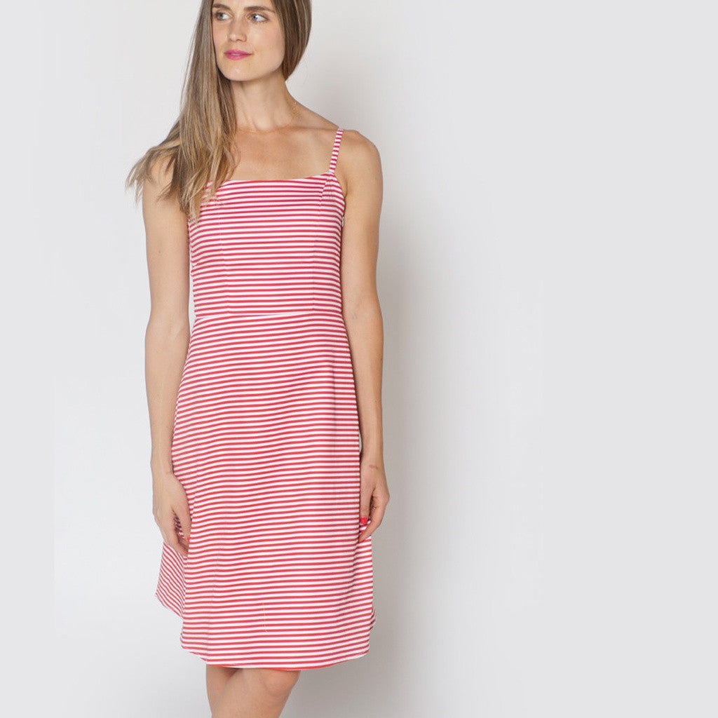The Eva Dress, Red and White Striped Cotton