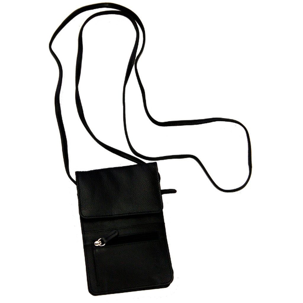 Rfid Blocking Leather Organizer on a String - Black