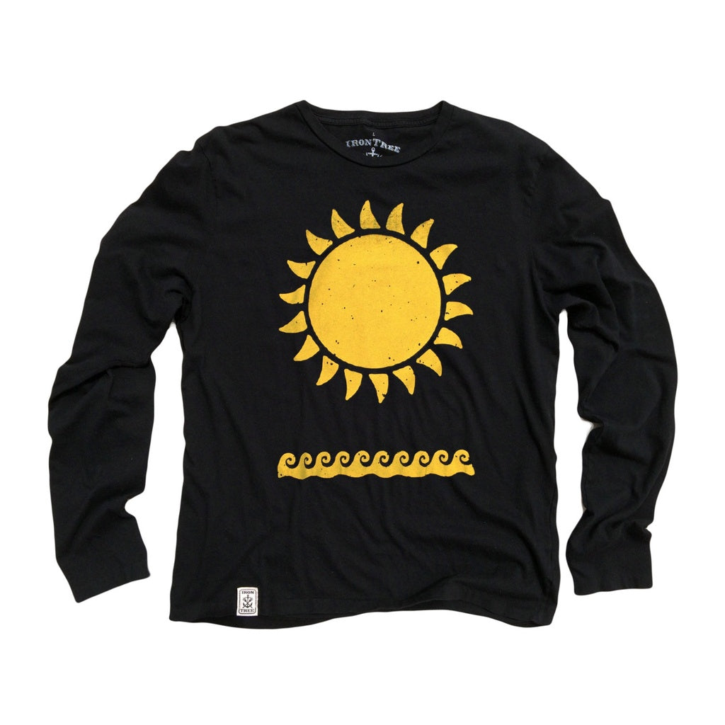 Yellow Sun & Waves: Organic Long Sleeve T-Shirt