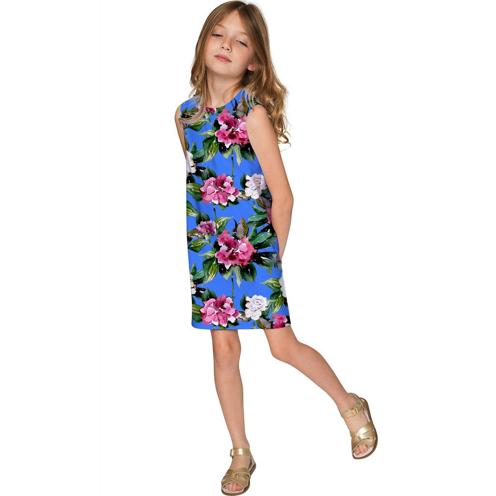 Aquarelle Adele Beautiful Blue Flower Party Shift Dress - Girls